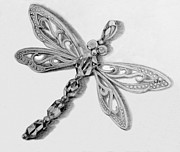 Dragonfly Drawings Framed Prints - Dragonfly pendant in graphite Framed Print by Jacqueline Barden