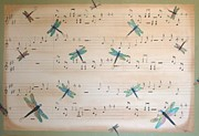 Music Score Paintings - Dragonfly Symphony by Cindy Micklos