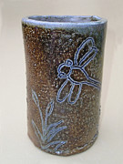 Pond Ceramics - Dragonfly Vase by Jeanette Kabat
