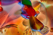 Color Glass Art Prints - DragonFlying Print by Omaste Witkowski