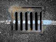 Grate Originals - Drain With Blue Line by Charles Stuart
