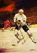 Hockey Painting Metal Prints - Drama on Ice Metal Print by Al Brown