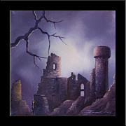 Moonscape Painting Prints - Dramar Castle Print by James Christopher Hill