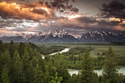 River. Clouds Posters - Dramatic Clouds over the Tetons Poster by Andrew Soundarajan