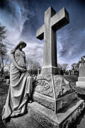 Stone Posters - Dramatic gravestone with cross and guardian angel Poster by Amy Cicconi