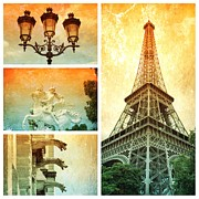 Paris Metal Prints - Dramatic Paris Collage Metal Print by Carol Groenen