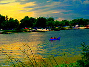 Water Vessels Paintings - Dramatic Skies Canoes At Sunset Along The Wharf Of The Lachine Canal Quebec Scenes Carole Spandau by Carole Spandau
