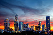 Charlotte Nc Photography Posters - Dramatic sunset against Charlotte skyline Poster by Patrick Schneider