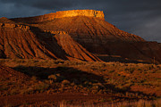 Geobob Metal Prints - Dramatic Sunset Glow on Hurricane Mesa near Virgin Utah Metal Print by Robert Ford