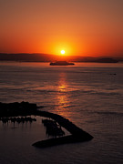 Sausalito Metal Prints - Dramatic Sunset on Alcatraz Metal Print by David Giral