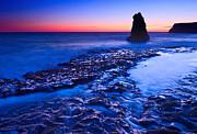 Dramatic Sunset View Of A Sea Stack In Davenport Beach Santa Cruz. Print by Jamie Pham