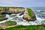 Dramatic View Of Shark Fin Cove In Santa Cruz California. Print by Jamie Pham