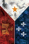 Coast Mixed Media Metal Prints - Drapeau Du Acadie Metal Print by Giorgio Russo
