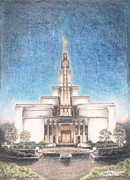 Hardy Drawings - Draper Utah LDS Temple by Pris Hardy