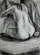 Nude Drawings Drawings Prints - Drapery Pull Print by Kendall Kessler