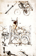Mechanisms Drawings Framed Prints - Drawing For an Automobile Mechanisms Framed Print by Leonardo da Vinci
