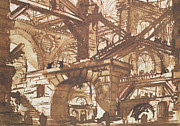 Fantasy Tapestries Textiles - Drawing of an Imaginary Prison by Giovanni Battista Piranesi
