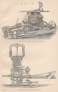 Mechanisms Drawings Framed Prints - Drawings of a brick making machine Framed Print by Anon