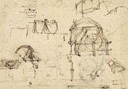 Engineering Drawings Framed Prints - Drawings of geometric figures list of botanical terms sketches of construction of onager  Framed Print by Leonardo Da Vinci