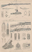 Mechanics Drawings Framed Prints - Drawings of Gun parts Framed Print by Anon
