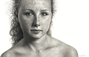 Photorealism Drawings - Drawn Face III - Alison by Dirk Dzimirsky