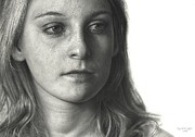 Photorealism Drawings - Drawn Face IV - Anna by Dirk Dzimirsky