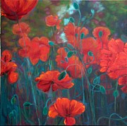 Poppies Field Paintings - Drawn to the Rythm by Adriana Rinaldi