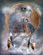 Nature Mixed Media Posters - Dream Catcher - Hawk Spirit Poster by Carol Cavalaris