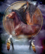 Animal Art Print Mixed Media Posters - Dream Catcher - Spirit Horse Poster by Carol Cavalaris