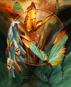 Native-american Mixed Media Prints - Dream Catcher - Spirit Of The Butterfly Print by Carol Cavalaris