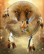 Animal Mixed Media Metal Prints - Dream Catcher- Spirit Of The Red Fox Metal Print by Carol Cavalaris
