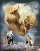 Animal Mixed Media Metal Prints - Dream Catcher - Spirit Of The White Buffalo Metal Print by Carol Cavalaris