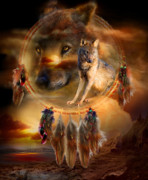 Feathers Posters - Dream Catcher - WolfLand Poster by Carol Cavalaris