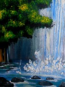 Landscape. Mountain Trees Water Bush Art - Dream Falls by Krista May