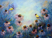 Finch Drawings Prints - Dream Garden with Goldfinches and Coneflowers Print by Loretta Luglio