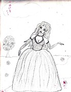 Ball Gown Drawings Metal Prints - Dream Girl Metal Print by Tracey Griffor