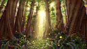Tree Ferns Digital Art - Dream Glade Metta by Simon  Haiduk