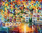 Yacht Painting Originals - Dream Harbor by Leonid Afremov