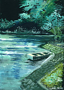 Rain Drawings Originals - Dream Lake by Anil Nene