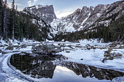 Winter Prints Prints - Dream Lake Reflection Print by Aaron Spong