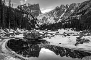 Natures Photos Posters - Dream Lake Reflection Black and White Poster by Aaron Spong