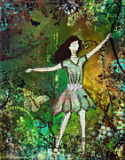 Janelle Nichol Posters - Dream Nature inspired mixed media folk art painting of Young Girl Poster by Janelle Nichol