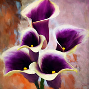 Calla Lilies Prints - Dream Of Purple Print by Lourry Legarde