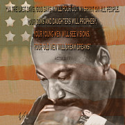 Super Star Painting Prints - DREAM OR PROPHECY - Dr Rev Martin  Luther King Jr Print by Reggie Duffie