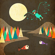 Moon Digital Art Posters - Dream River Poster by Jazzberry Blue
