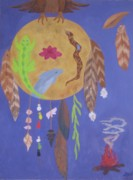 Red Tail Hawk Paintings - Dream Spirit Shield by Ellen Levinson