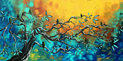 Blossoms Metal Prints - Dream Watchers Original abstract Bird Painting Metal Print by Megan Duncanson