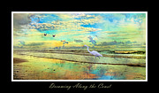 Topsail Island Digital Art Framed Prints - Dreaming Along the Coast -- Egret  Framed Print by Betsy A Cutler East Coast Barrier Islands