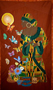 Acrylic Art Tapestries - Textiles Prints - Dreaming Butterflies Print by Linda Egland