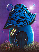 Purple Mushroom Posters - Dreaming House by Shawna Erback Poster by Shawna Erback